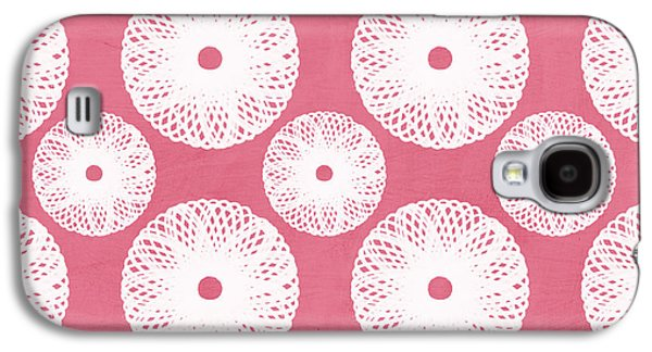 Boho Floral Pattern In Pink And White Galaxy S4 Case by Linda Woods