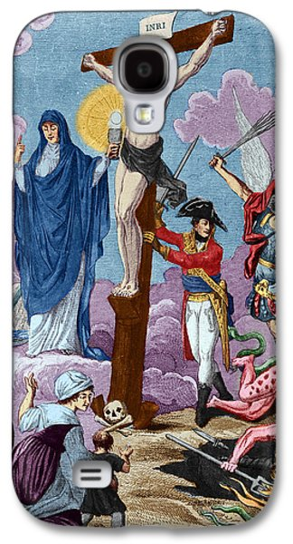 Calvary Galaxy S4 Cases - Bonaparte, Restorer Of Religion And Supporting The Cross, Allegory On The Concordat, 1802 Coloured Galaxy S4 Case by French School