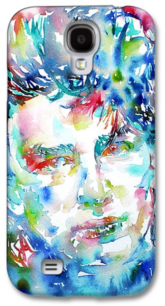 U2 Paintings Galaxy S4 Cases - Bono Watercolor Portrait.1 Galaxy S4 Case by Fabrizio Cassetta