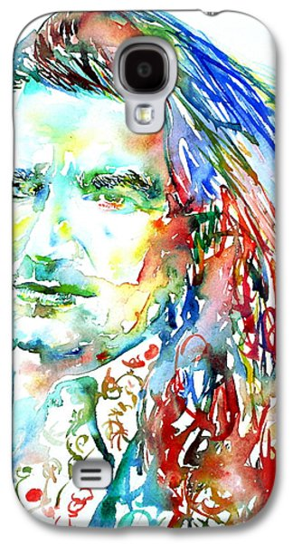U2 Paintings Galaxy S4 Cases - Bono Watercolor Portrait.2 Galaxy S4 Case by Fabrizio Cassetta