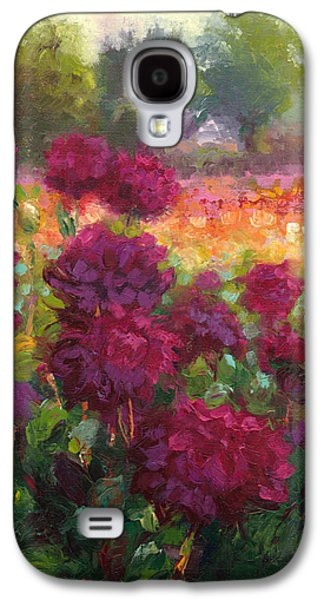 Green Reliefs Galaxy S4 Cases - Boogie Nites dahlia landscape oil painting  Galaxy S4 Case by Talya Johnson