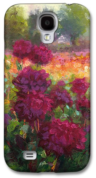 Red Abstract Reliefs Galaxy S4 Cases - Boogie Nites dahlia landscape oil painting  Galaxy S4 Case by Talya Johnson