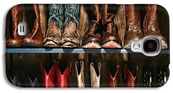 Cowboy Photographs Galaxy S4 Cases - Boot Rack Galaxy S4 Case by Olivier Le Queinec