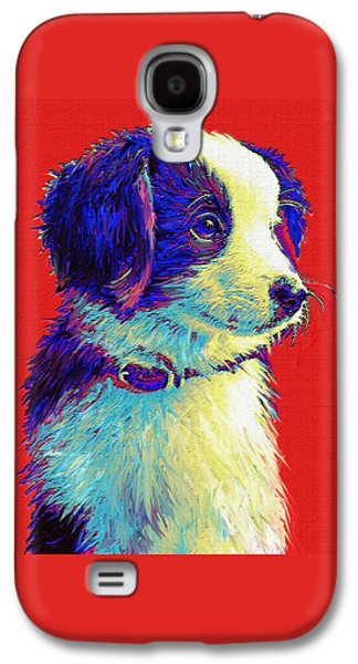 Puppy Digital Art Galaxy S4 Cases - Border Collie Puppy Galaxy S4 Case by Jane Schnetlage