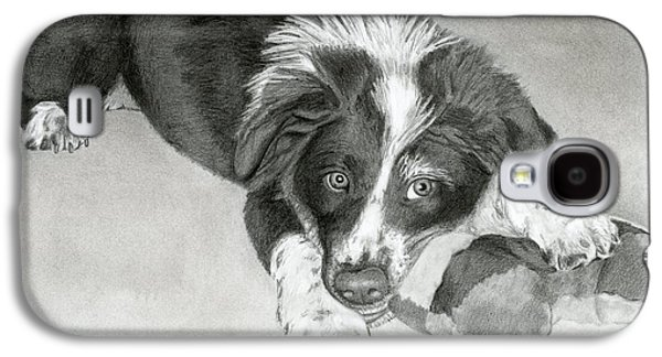 Puppies Galaxy S4 Cases - Border Collie Puppy Galaxy S4 Case by Sarah Batalka