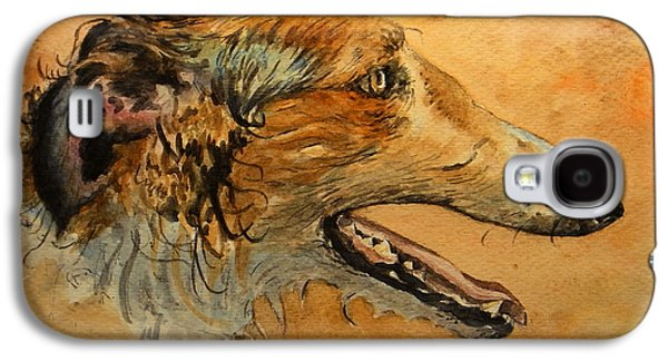 Greyhound Galaxy S4 Cases - Borzoi dog Galaxy S4 Case by Juan  Bosco