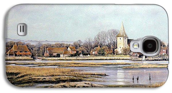Winter Scene Pastels Galaxy S4 Cases - Bosham Harbour Galaxy S4 Case by Rosemary Colyer