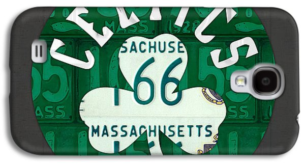 Boston Celtics Galaxy S4 Cases - Boston Celtics Basketball Team Retro Logo Vintage Recycled Massachusetts License Plate Art Galaxy S4 Case by Design Turnpike