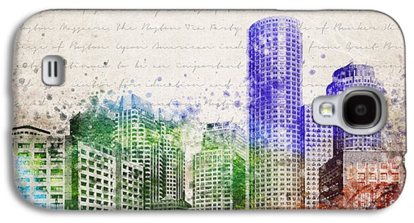 Financial Mixed Media Galaxy S4 Cases - Boston City Skyline Galaxy S4 Case by Aged Pixel
