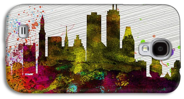 Usa Paintings Galaxy S4 Cases - Boston City Skyline Galaxy S4 Case by Naxart Studio