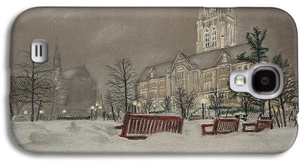 Winter Scene Pastels Galaxy S4 Cases - Boston College campus on a winters night Galaxy S4 Case by John Ruggiero