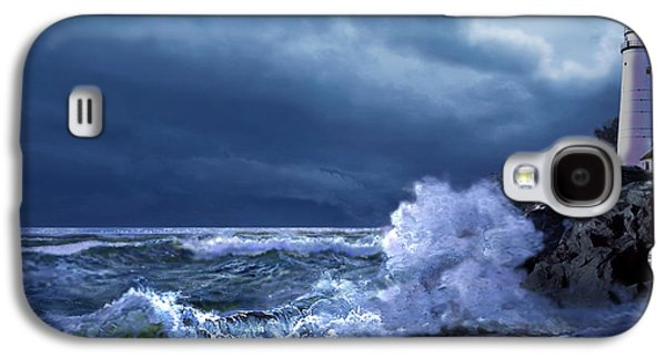 Architecture Acrylic Prints Galaxy S4 Cases - Boston Harbor Lighthouse Moonlight scene Galaxy S4 Case by Gina Femrite