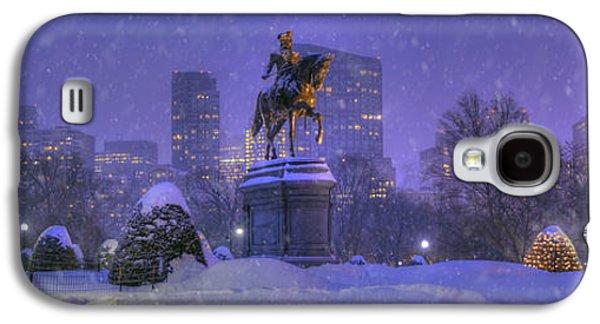 Boston Public Garden In Snow With Boston Skyline Galaxy S4 Case by Joann Vitali