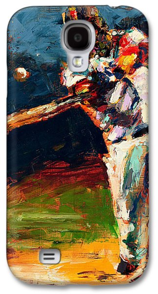 Red Sox Paintings Galaxy S4 Cases - Boston Red Sox Beard Mike Napoli Galaxy S4 Case by Derek Russell