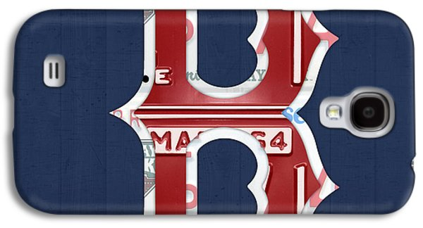 Red Sox Art Galaxy S4 Cases - Boston Red Sox Logo Letter B Baseball Team Vintage License Plate Art Galaxy S4 Case by Design Turnpike