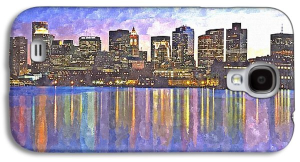 Charles River Paintings Galaxy S4 Cases - Boston skyline by night Galaxy S4 Case by Rachel Niedermayer