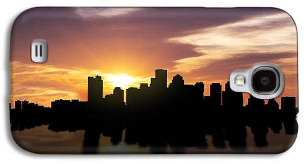 Financial Mixed Media Galaxy S4 Cases - Boston Sunset Skyline  Galaxy S4 Case by Aged Pixel