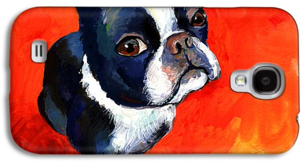 Cute Puppy Galaxy S4 Cases - Boston Terrier dog painting prints Galaxy S4 Case by Svetlana Novikova