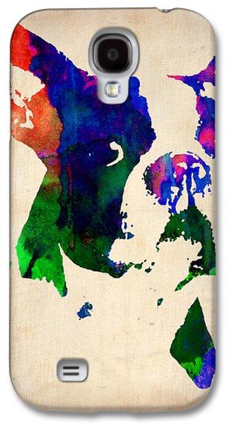 Puppies Galaxy S4 Cases - Boston Terrier Watercolor Galaxy S4 Case by Naxart Studio