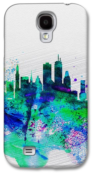 Architectural Digital Art Galaxy S4 Cases - Boston Watercolor Skyline Galaxy S4 Case by Naxart Studio