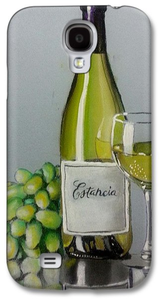 Grapes Art Deco Galaxy S4 Cases - Bottle Wine and Grapes Galaxy S4 Case by Bobby Boyer