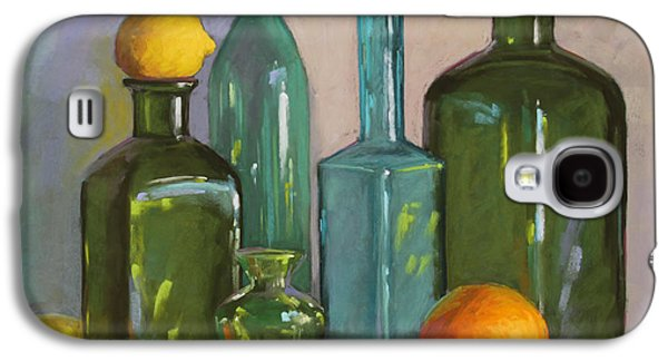 Still Life Pastels Galaxy S4 Cases - Bottles Galaxy S4 Case by Sarah Blumenschein