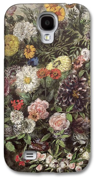 Flower Still Life Prints Galaxy S4 Cases - Bouquet of Flowers Galaxy S4 Case by Ferdinand Victor Eugene Delacroix
