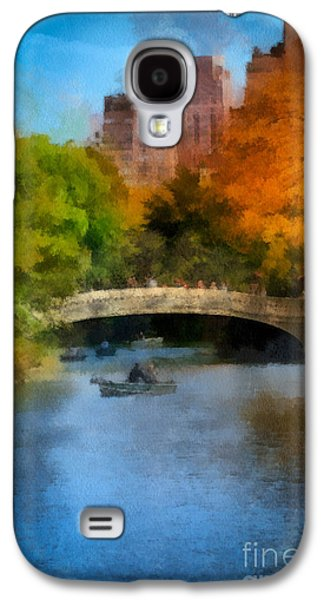Rowboat Digital Art Galaxy S4 Cases - Bow Bridge Central Park Galaxy S4 Case by Amy Cicconi