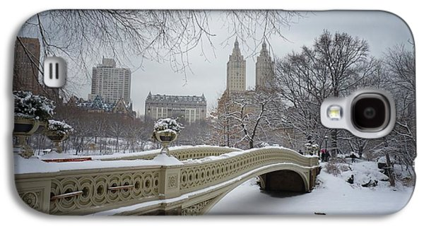 City Scene Galaxy S4 Cases - Bow Bridge Central Park in Winter  Galaxy S4 Case by Vivienne Gucwa