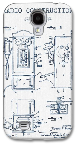 Radio Galaxy S4 Cases - Bowers Radio Patent Drawing From 1959 - Blue Ink Galaxy S4 Case by Aged Pixel