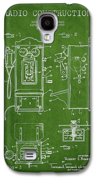 Radio Galaxy S4 Cases - Bowers Radio Patent Drawing From 1959 - Green Galaxy S4 Case by Aged Pixel