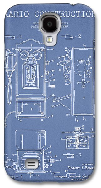 Radio Galaxy S4 Cases - Bowers Radio Patent Drawing From 1959 - Light Blue Galaxy S4 Case by Aged Pixel
