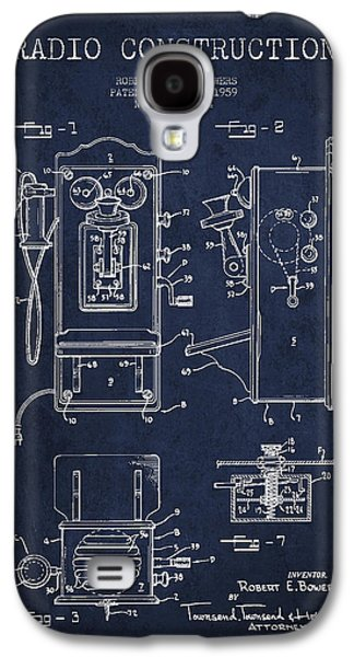 Radio Galaxy S4 Cases - Bowers Radio Patent Drawing From 1959 - Navy Blue Galaxy S4 Case by Aged Pixel