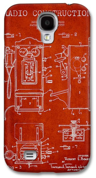 Radio Galaxy S4 Cases - Bowers Radio Patent Drawing From 1959 - Red Galaxy S4 Case by Aged Pixel