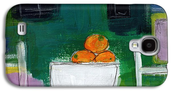 Still Life Mixed Media Galaxy S4 Cases - Bowl of Oranges- Abstract Still Life Painting Galaxy S4 Case by Linda Woods
