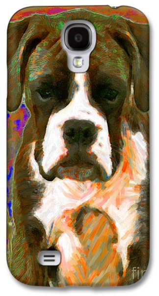 Boxer Dog Digital Galaxy S4 Cases - Boxer 20130126v1 Galaxy S4 Case by Wingsdomain Art and Photography
