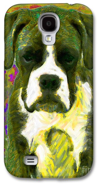 Boxer Dog Digital Galaxy S4 Cases - Boxer 20130126v2 Galaxy S4 Case by Wingsdomain Art and Photography