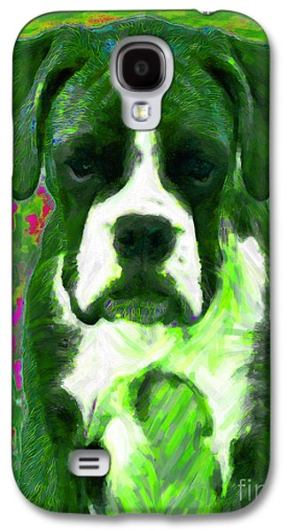 Boxer Puppy Digital Art Galaxy S4 Cases - Boxer 20130126v3 Galaxy S4 Case by Wingsdomain Art and Photography