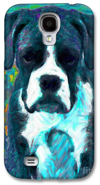 Boxer Puppy Digital Art Galaxy S4 Cases - Boxer 20130126v4 Galaxy S4 Case by Wingsdomain Art and Photography