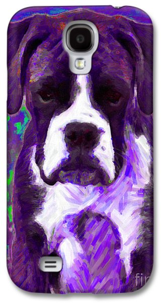 Boxer Puppy Digital Art Galaxy S4 Cases - Boxer 20130126v6 Galaxy S4 Case by Wingsdomain Art and Photography