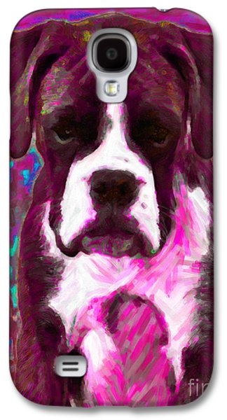 Boxer Puppy Digital Art Galaxy S4 Cases - Boxer 20130126v7 Galaxy S4 Case by Wingsdomain Art and Photography