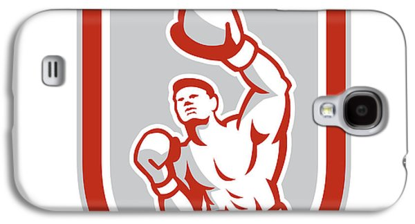 Heavyweight Digital Galaxy S4 Cases - Boxer Boxing Punching Jabbing Circle Retro Galaxy S4 Case by Aloysius Patrimonio