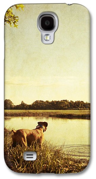 Boxer Galaxy S4 Cases - Boxer Dog by the Pond at Sunset Galaxy S4 Case by Stephanie McDowell
