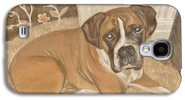 Boxer Drawings Galaxy S4 Cases - Boxer Dog George Galaxy S4 Case by Faye Giblin