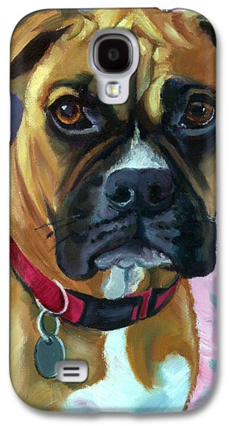 Boxer Galaxy S4 Cases - Boxer Dog Portrait Galaxy S4 Case by Lyn Cook
