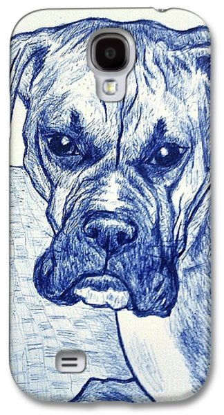 Boxer Drawings Galaxy S4 Cases - Boxer in Blue Galaxy S4 Case by Jason Page