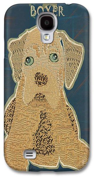 Boxer Digital Art Galaxy S4 Cases - Boxer Puppy Graffiti Galaxy S4 Case by Bri Buckley