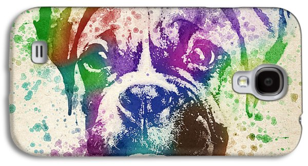 Best Sellers -  - Puppy Digital Art Galaxy S4 Cases - Boxer Splash Galaxy S4 Case by Aged Pixel