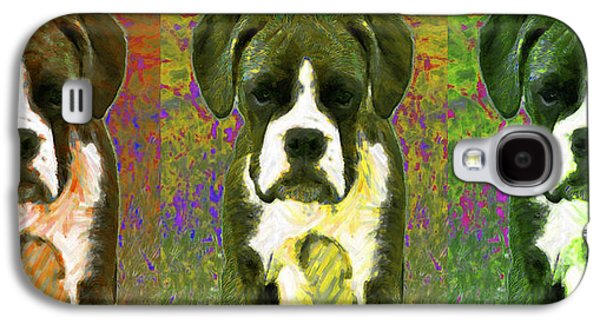 Boxer Puppy Digital Art Galaxy S4 Cases - Boxer Three 20130126 Galaxy S4 Case by Wingsdomain Art and Photography