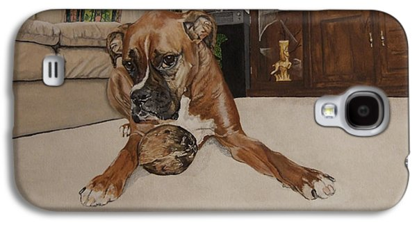 Boxer Galaxy S4 Cases - Boxer With Coconut Galaxy S4 Case by Crystal Weech